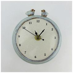 Handmade Ceramic Wall Clock with Two Birds - I like the animals on top It would be nice to make some clocks featuring animals in different ways Thinking cap on click the image for further information