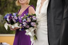 Textured purple and blue wedding bouquets