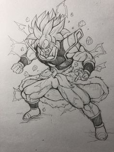 Dbz Drawings, Easy Drawings, Broly Ssj4, Ball Drawing, Dragon Ball Gt, Anime Sketch, Manga Drawing, Drawing Reference, Character Art