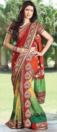 Red and Yellow Faux Georgette #Lehenga Style #Saree