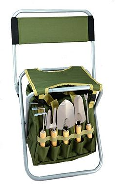 This is a 10-piece Gardening Tool Set with Zippered Detachable Tote and Folding Stool Seat with Backrest all-in-one.  The storage Detachable tote has easily accessible zippered openings and it conven...