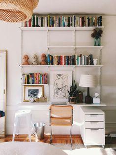 Shelf help - Home office shelving ideas - Modern Luxe Ikea Wall Shelves, Wall Shelving Units, Shelving Design, Shelf Design, Ikea Wall Desk, Desk With Shelves, Wall Mounted Bookshelves, Shelf Wall, Wall Mounted Desk Ikea