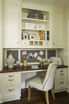 Martha O'Hara Interiors: Kitchen office with white shaker cabinets and butcher block desk paired with tufted ...
