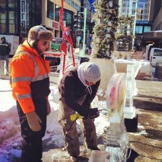 Ice sculptors preparing for SocialICE. An annual event held every February at the downtown Peace Plaza.