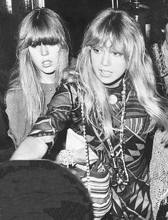 Jenny and Pattie Boyd c. 1960s. These bangs were big back then.