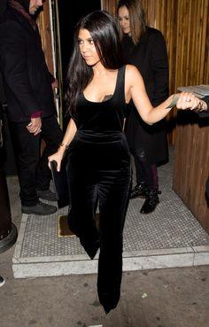 Kourtney Kardashian wearing Celine Flap Clutch, Gianvito Rossi Pumps and Topshop Unique Arnold Cotton-Velvet Overalls