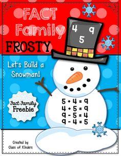 Fact Family Frosty {Snowman Math Fun} Kindergarten & First Grade. Craftivity.$