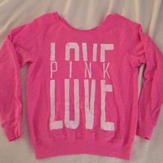 Lowest Love PINK Off The Shoulder Sweatshirt Love PINK Victoria Secret Off The Shoulder Sweatshirt in size XS. This is a pink wide neck thin sweatshirt that can be worn off the shoulder if desired or just as a wide neck. Long sleeve sweatshirt has the words LOVE PINK written in white letters vintage style. PINK Victoria's Secret Tops Sweatshirts & Hoodies