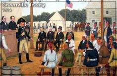 FORT GREENVILLE, July 22, 1814 — Shawnee researcher and artist Hal Sherman depicts Chief Black Hoof seated at the Greenville Treaty signing. General William Henry Harrison and Governor Lewis Cass negotiated the treaty with the Wyandot, Delaware, Shawnee, Seneca, Miami and Potawatomi.  Original paintings compliments of Hal Sherman, Englewood, Ohio, WEBSITE.