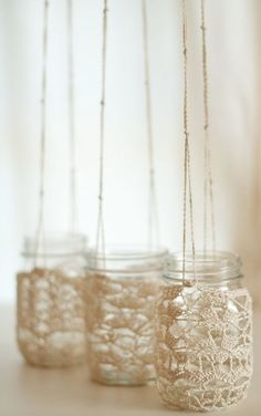things brides love Mason Jar wedding reception decor centerpieces chrochet chandelier #masonjars #masonjarcraftslove