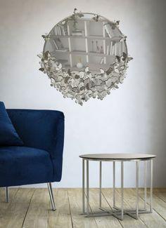 Oglinda rotunda de perete Fluturi D91cm argintiu Chandelier, Ceiling Lights, Lighting, Table, Furniture, Home Decor, Candelabra, Decoration Home, Light Fixtures