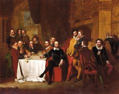 """Shakespeare and His Friends at the Mermaid Tavern,"" painting by John Faed, 1851. From left in back: Joshua Sylvester, John Selden, Francis Beaumont. Seated at table from left: William Camden, Thomas Sackville, John Fletcher, Sir Francis Bacon, Ben Jonson, John Donne, Samuel Daniel, Shakespeare, Sir Walter Raleigh, the Earl of Southampton, Sir Robert Cotton, and Thomas Dekker."