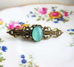 Blue Mint Green Hair Clip Pin Eclectic Bohemian Exotic Bridesmaids Wedding Gift by Jewelsalem, $9.99