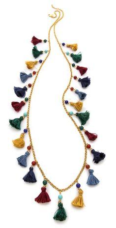 Could dress up a basic tee -- Ben-Amun Long Mini Tassel Necklace Diy Tassel, Tassel Jewelry, Diy Jewelry, Beaded Jewelry, Tassels, Jewelery, Jewelry Accessories, Jewelry Necklaces, Handmade Jewelry