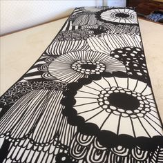 Custom made bench seat cushion in Marimekko fabric