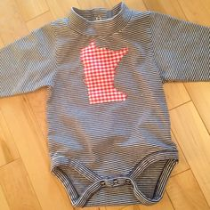 Minnesota Baby Onesie Size 9 Months with Checked Fabric Appliqué ***One-of-a-kind*** Baby N Brand - SOLD