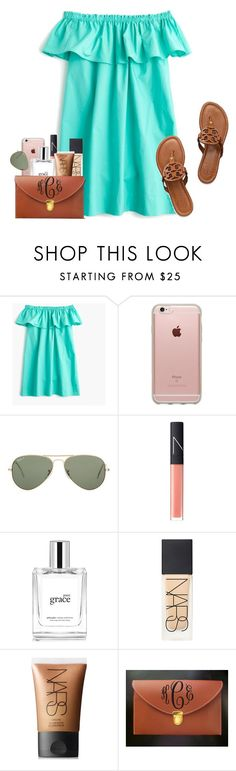 """missing the beach"" by conleighh ❤ liked on Polyvore featuring J.Crew, Incase, Ray-Ban, NARS Cosmetics and philosophy"