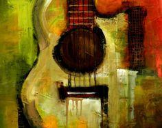 Items similar to Original Painting - Modern Abstract Art by SLAZO - - Made to Order on Etsy Guitar Drawing, Guitar Art, Eddie Van Halen, Alaska, Puerto Rico, Original Paintings, Original Art, Art Diary, Mixed Media Painting