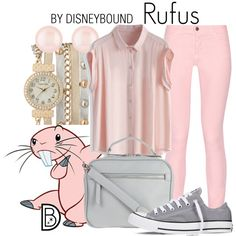 Rufus by leslieakay on Polyvore featuring Chicwish, Maison Kitsuné, Converse, Henri Bendel, maurices, disney, disneybound and disneycharacter