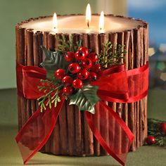 Holiday cinnamon stick candle - made a DIY version of this