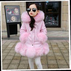 49.99$  Buy here - http://ali2kq.worldwells.pw/go.php?t=32744324302 - Girls fake fur coat girls Faux Fox Mink Fur Coat Girls Warm Luxury Medium Long Fake Fur Coats Kids Coats Coat Warmer jacket