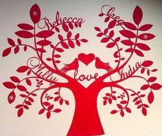 Love birds personalised paper cut family tree. £45.00, via Etsy.