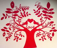 Love birds personalised paper cut family tree. £45.00, via Etsy.