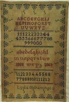 MID 19TH CENTURY ALPHABET SAMPLER BY LYDIA OLDHAM AGED 8 - 1869