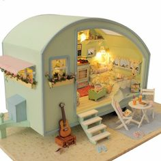 DIY Fairy Gypsy Travel Caravan. Miniature dollhouse DIY Kit. Fairy Garden. Gifts for her. Gifts for daughter. DIY Gifts.