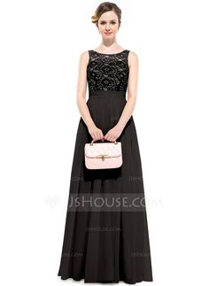 A-Line/Princess Scoop Neck Floor-Length Chiffon Bridesmaid Dress With Ruffle (007051383) - JJsHouse