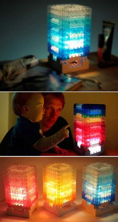 This DIY block colorful light desk lamp comes in a kit to let you design your own shapes.  It is made from a durable plastic that still allows for the same sort of play and snap building that we never tire of.  Well-designed lamp housing so that light rays refract and scatter in a more gentle way.  Remote control lights turned on/off with gradient light regulation. Desktop Lamp, Led Diy, Light Rays, Mason Jar Lamp, Led Lamp, Design Your Own, Light Colors, Night Light, Remote