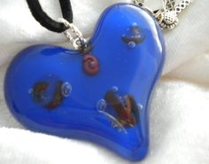 Fused Glass Heart Blue and Red Dichroic & Copper by uniquenique, $25.00
