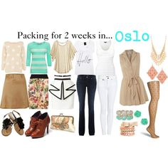 """Packing for 2 weeks in... Oslo"" by fashion-by-k on Polyvore"