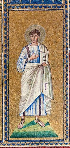 one of the 32 unidentified male figures depicted at the window level of the basilica of Sant'Apollinare Nuovo, Ravenna. They are probably prophets and other biblical authors. Some may be patriarchs of Israel. Numbering is from west to east. Ravenna Mosaics, About Facebook, Male Figure, Christian Art, New Day, Street Art, Photo And Video, History, Ikon