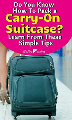 Do you know how to make travel easier by only taking one piece of luggage? Avoid checked baggage fees and pack for your trip in one carry-on suitcase. These carry-on packing tips will teach you how to travel light like a pro. Suitcase Packing Tips, Carry On Packing, Packing For A Cruise, Carry On Suitcase, Carry On Luggage, Packing Tips For Travel, Travel Essentials, Travel Hacks, Luggage Packing