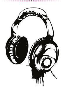 Headphones Music DJ Wall Stickers Wall Art Decal