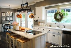 Dear Lillie: Matt and Meredith's HUGE Kitchen Makeover....love this paint color and the slate floor with the white cabinets and countertops!