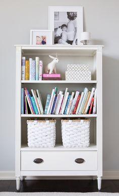 bookshelf // little girls' pink & white bedroom