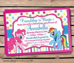 My Little Pony Birthday Invitation on Etsy, $2.49