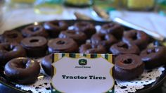 "Mini chocolate doughnuts as ""Tractor Tires"""