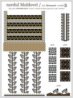Semne Cusute: iie din nordul MOLDOVEI, Botosani Folk Embroidery, Embroidery Patterns, Cross Stitch Patterns, Diy Projects To Try, Mosaic Art, Cross Stitching, Beading Patterns, Diy Clothes, Diy And Crafts