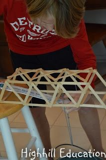 My son built and tested a truss bridge. Trusses are formed when two straight pieces come together to form a rigid joint. Catholic Homeschooling, Bridge, Study, The Unit, Science, Building, Studio, Bridge Pattern, Buildings