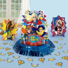 Decorate your super party with our DC Super Hero Girls Table Decorating Kit! Each kite includes: 1 - Foil Fringe Super Centerpiece, 2 - centerpiece Birthday Party Table Decorations, Birthday Party Tables, Birthday Ideas, Party Favors, Girl Superhero Party, Dc Super Hero Girls, Super Heros, Kids Party Supplies, Girl Birthday