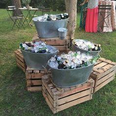 Triple buckets wedding drink bar for rustic country wedding wedding food Rustic I do BBQ (Barbecue) Wedding Ideas Oktoberfest Party, Barbecue Wedding, Barbecue Bbq, Bbq Bar, Backyard Barbeque Party, Pig Roast Wedding, Pig Roast Party, Deco Champetre, I Do Bbq
