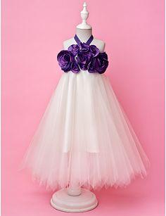 A-line Halter Floor-length Tulle And Taffeta Flower Girl Dress