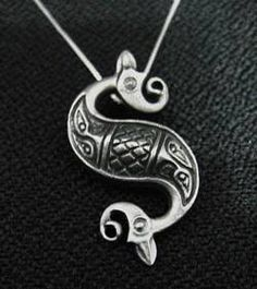 Tribal Celtic Mermaid Tail Sterling silver .925 jewelry pendant charm