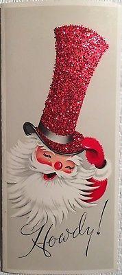 Vintage Mid Century Unused Christmas Card Santa Red Glittered Top Hat