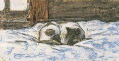 Kolmiulotteisuus - kissat kuutamolla - Claude Monet - Cat Sleeping On A Bed (taustaa).
