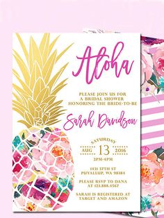 Take your bridal shower to the tropics with printable DIY invitation templates that flaunt funky pineapple patterns.