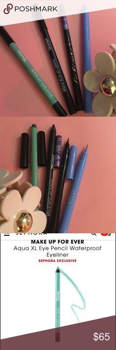Stila, makeup forever & Tarte Liner (see detail) TARTE Rainforest of the Sea™ So Fine Micro Liner - BLACK    - - MAKE UP FOR EVER Aqua XL Eye Pencil Waterproof Eyeliner : BLACK & AQUA  - - STILA Stay All Day® Waterproof Liquid Eye Liner : PERIWINKLE - periwinkle blue --------ALL NEW but MUFE AQUA used 2+ CLEANED. Makeup Forever Makeup Eyeliner